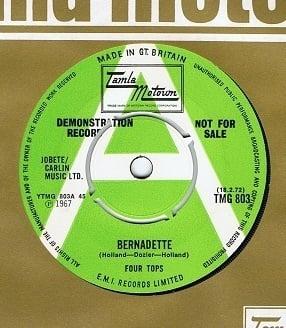 "THE FOUR TOPS BERNADETTE 7"" RECORD Grn/Wht Motown Demo"